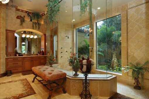 Bathroom with glass- enclosed shower