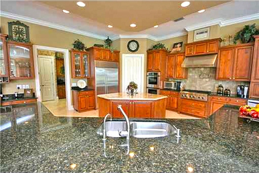 Gourmet kitchen with marble countertops