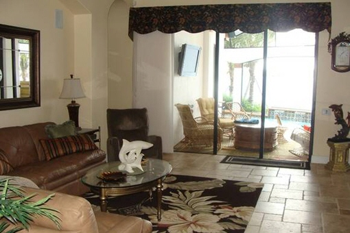 Beautiful living room with terrace and Media Center in Fort Myers